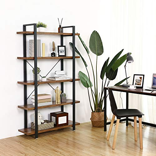 VASAGLE Industrial Bookshelf, 5-Tier Bookcase, Display Rack, Stable Ladder Shelf, Easy Assembly, Living Room, Bedroom, Office, Rustic Brown and Black ULLS55BX