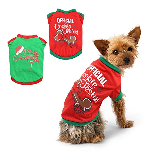 BWOGUE 2 Pack Christmas Dog Shirts for Pet Clothes Soft Breathable Puppy Shirts Printed Pet T-Shirt Puppy Dog Clothes for Small Dogs Cats Christmas Cosplay,M