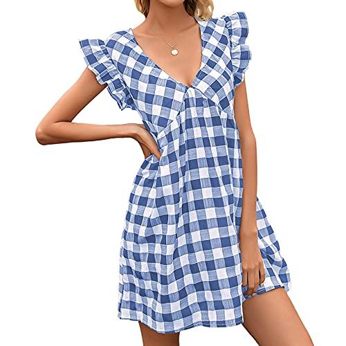 XYJD Lente en zomer dames casual Hedging sexy V-hals geruite print korte mouwen losse korte jurk dames - blauw - 5XL