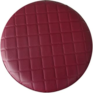 Rosavida 16 Inch Waterproof Round Stool Cover Faux Leather Lattice Round Barstool Seat Covers Red-wine