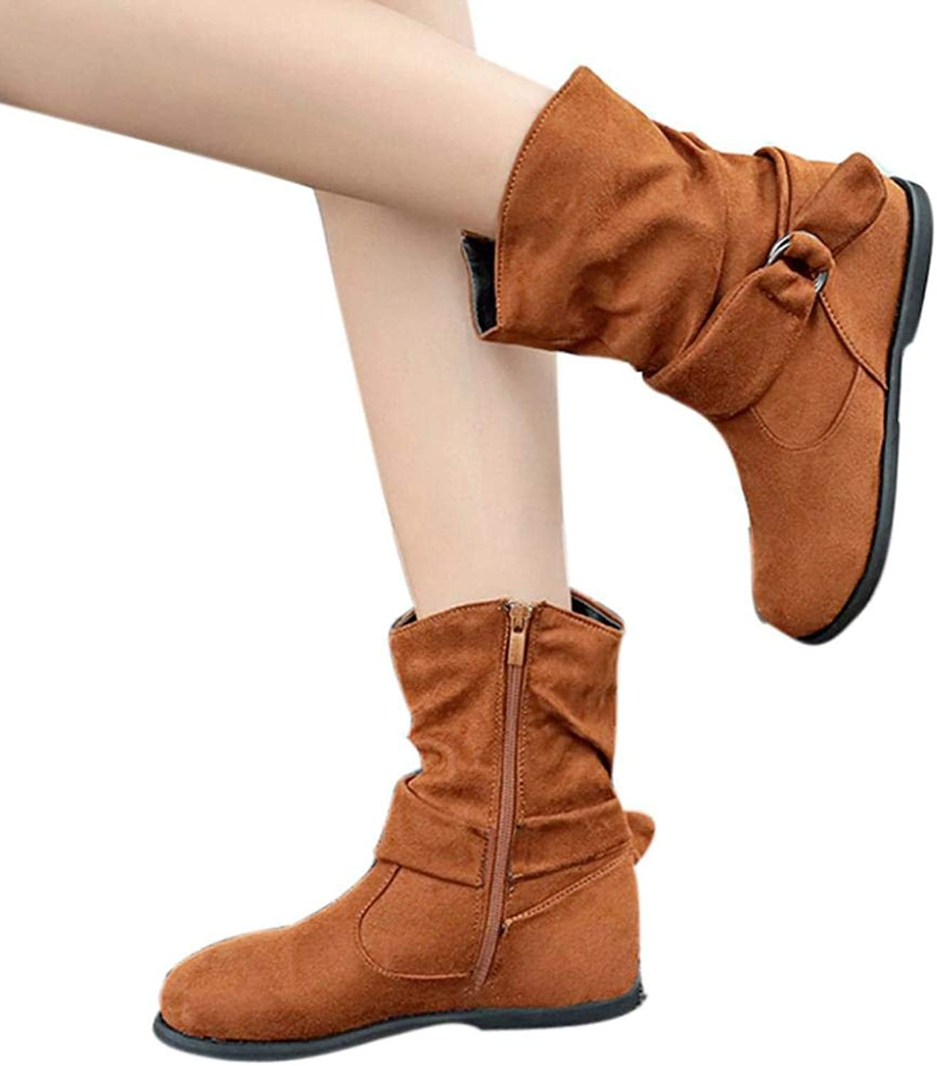 Fheaven (TM) Women Mid Calf High Boots Buckled Strap Booties shoes Slouchy Boots