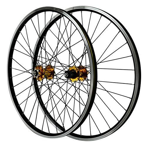 SJHFG Ciclismo Wheels,Aleación de Aluminio de Doble Pared Liberación Rápida Bicicleta de Montaña Freno de Disco V Freno Ruedas de Bicicleta 26 Pulgadas (Color : Yellow)
