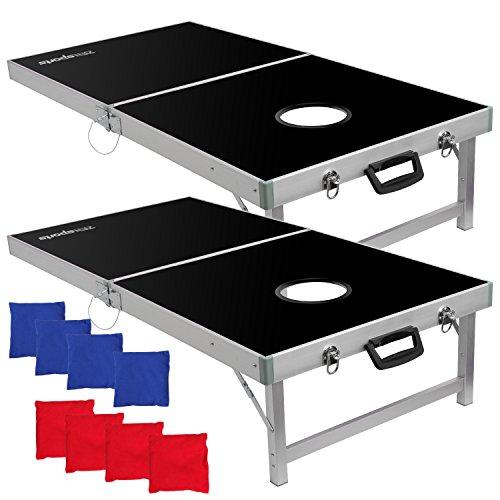ZENY Portable Cornhole Set 4 x 2 Aluminum Bean Bag Toss Cornhole Game Set Regulation Size Folding...