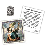 Silver Toned St. Christopher Patron of Travelers Catholic Devotional Pocket Token with Prayer Card, 1 Inch