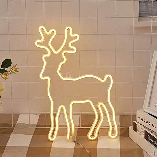 Luces de letreros de neón LED LED Forma de alces blanco cálida con enchufe de lámpara de neón para Navidad, Fiesta de cumpleaños, Habitación para niños, Fiesta de bodas-Blanco cálido