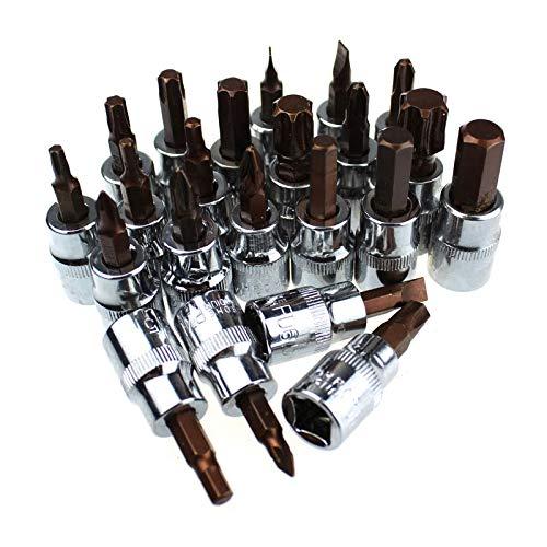 1pc 3/8 Drive Hex Pozi Socket Bits T50 T55 T60 Destornilladores H8 H10 Socket Destornillador de llave Allen Bit-H4