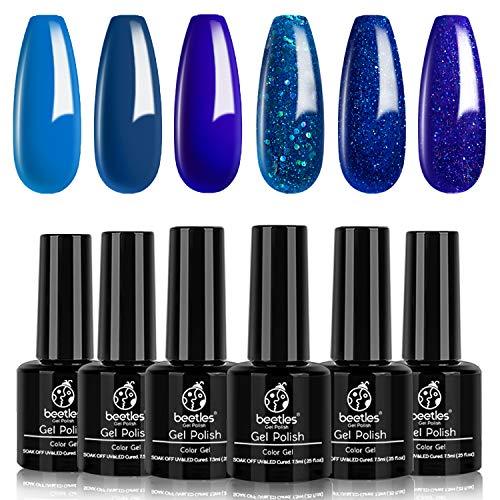Beetles Blue Jean Baby Collection Classi Blue Glitter Gel Nail Polish Set, 6 Colors Gel Polish Soak Off LED Nail Art Manicure Kit DIY at Home 7.3ml/Bottle