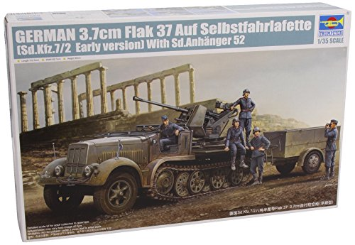 Trumpeter 1/35 German SdKfz 7/2 Early Version Halftrack with 3.7cm Flak 37 Gun and Supply Trailer