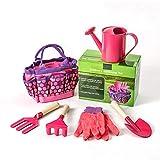 Sac à outils polyvalent facile à transporter et Foldaway pour enfants - Kit d'outils de jardinage durable - Kit complet pour enfants - Jardinage, petits jardiniers - Kit d'outils (rose)