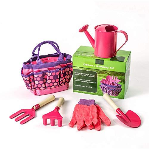 Mehrzweck-Werkzeugtasche Einfach zu tragen und Foldaway Kinder Gartenarbeit Set Tools langlebig Garten spielen Spiel Kits komplette Kinder Gartenarbeit kleine Gärtner Gartenarbeit Werkzeug-Sets (rosa)