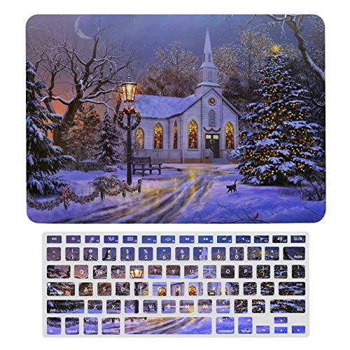 Case for MacBook Midnight Snowy Scene Plastic Pattern Hard Case & Keyboard Cover Only Compatible with MacBook Air 13 (models: A1369 & A1466)