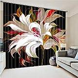 zpbzambm Cortina Opaca Impresión Digital Flores Increíbles Aislamiento Reducción De Ruido Cortinas - Adecuado para Sala De Estar Dormitorio 200(H) X130(An) Cmx2 Piezas/Set