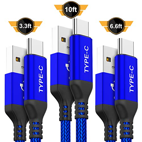 USB Type C Cable,AkoaDa 3-Pack (10ft+6.6ft+3.3ft) USB to USB C Cable Nylon Braided Fast Charger Cord for Samsung Galaxy S8 S9 Plus Note 8,Google Pixel XL,LG G5 G6 V20,Moto Z Z2 (Blue)