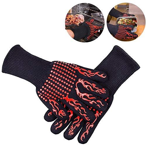 WEIW Keuken Siliconen Handschoenen Vijf Vingers, BBQ Grilling Cooking Handschoenen Oven Mitt Hand Bescherming tegen hitte, Warmtebestendig Oven Handschoenen Set - 1 Paar LUCKY