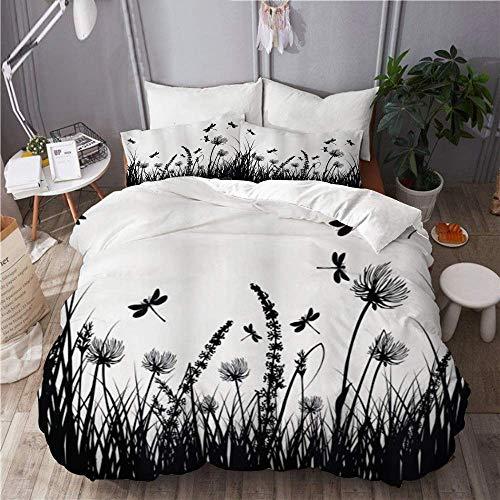 Juego de funda nórdica para ropa de cama, 3 piezas, juego de fundas de edredón, silueta de prado de arbusto de hierba natural con libélulas volando plantas de jardín de primavera, colcha de cama de mi