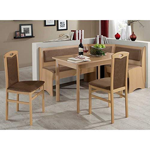 Pharao24 Küchen Sitzecke in Braun Stoff Buche