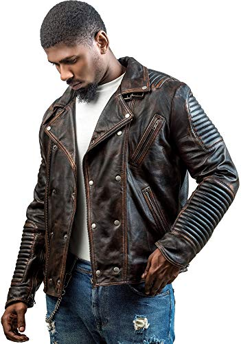 Zebe Leather Men's Genuine Lambskin Leather Biker Jacket (Large, Brown)