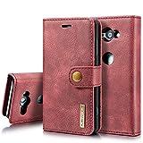 SZCINSEN Funda tipo cartera para Sony Xperia XZ2 Compact de piel auténtica, 2 en 1, funda tipo cartera magnética, estilo retro de piel de vacuno con ranura para tarjeta (color rojo)
