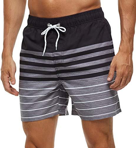 Tyhengta Mens Printed Swim Trunks Quick Dry Beach Shorts with Mesh Lining Stripe Black 32