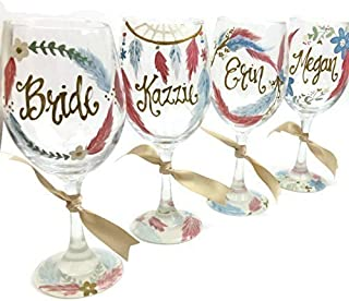 Free Personalization - Bride, Bridesmaid - Hand Painted Wine Glass Dusty Blue Feathers