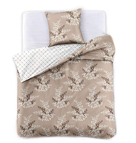 DecoKing Premium Ropa de Cama 140x200 cm 1 Funda de la Almohada 50x75 cm Funda Nórdica Microfibra Flor Planta Beige Capuchino Marrón Chocolate Blanco Calluna Hypnosis Collection