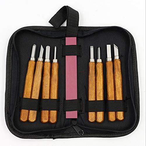 Holzschnitzwerkzeuge Holz-Meißel-Set, Satz mit 8 Stück, Holzschnitzereien Handgearbeitete Stempel Geschnitzte Messer mit Schärfstein und Trage-Reißverschlusstasche für Experten und Anfänger