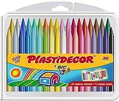 BIC Kids Plastidecor - Estuche de 36 unidades, ceras de colores surtidos - ideal para colorear y dibujar, actividades...