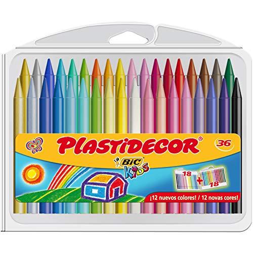 BIC Kids Ceras de Colores para Niños, Plastidecor, Colores Surtidos, Óptimo Para Colorear y Dibujar, Material Escolar, 36 Ceras