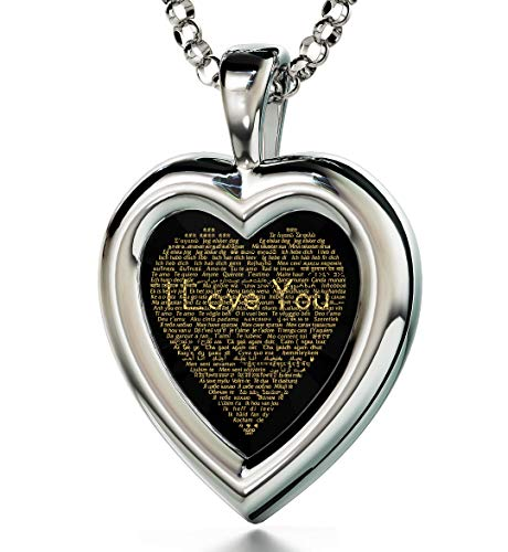 Colgante de corazón de Plata de Ley 925 con inscripción en inglés I Love You, Oro de 24 Quilates, 120 Idiomas CZ, 18 Pulgadas NanoStyle Jewelry