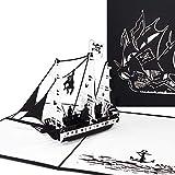 'Pop tarjeta de Up 'Barco Pirata, 3d tarjeta de felicitación, piratas de tarjetas, tarjeta de cumpleaños, tarjeta de cupones, diseño de barco barco/(3Tarjeta de felicitación Master