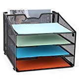 Mesh Office Supplies Desk Organizer,Meshist Metal Desktop Document Holder Organizer with 4 Letter Paper Tray and 1 Vertical Section,Black