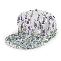 ユニセックス野球帽、アウトドア活動のためのヒップホップスナップバックフラットハットファッションサンハット、ラベンダーイラスト