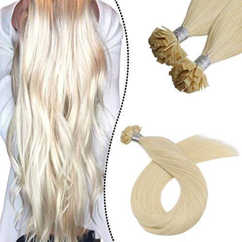 Ugeat Keratin Bondings Echthaar Flat Tip Extensions 100Strahnen 1G Glue in Hot Fusion Tips Pre Bonded Haarverlangerung 50cm (Farbe: Platinblond #60)