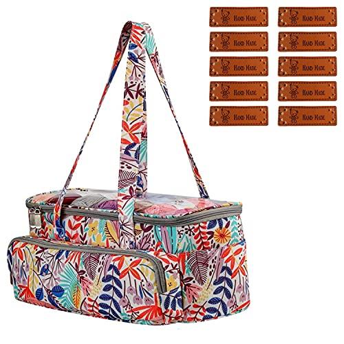 MISSFOX Bolsa de almacenamiento para lana, bolsa para tejer hecha a mano, bolsa de ganchillo portátil con 10 piezas de etiqueta hecha a mano, tela Oxford, bolsa de hilo para ganchillo, agujas de tejer