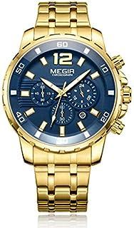 ساعة كوارتر للرجال من ميجر، بشاشة عرض كرونوغراف وسوار من الستانلس ستيل - طراز 2068G
