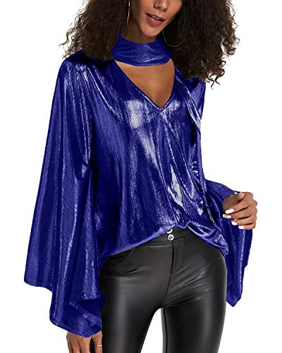 YOINS Camiseta Manga Larga Mujer Camisa Cuello V Blusa Brillante Metálico Sexy Tops Mangas Acampanadas A-Azul XXL