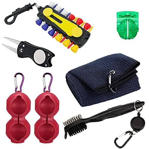 Runtodo Accesorios 6 en 1 Kit-toalla, soporte, cepillo de club, herramienta de reparación de Divot, plantilla, soporte de tete, marcadores de colocación