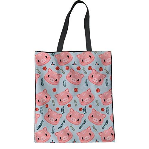 Coloranimal Pink Cartoon Schwein Kopf Leinen Einkaufstasche für Frauen Big Grocery Produce Taschen
