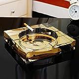 WTL Cenicero de cristal simple y práctico cenicero (Color : Gold-C)