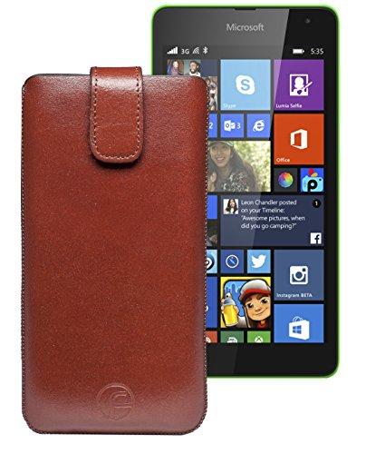 Original Favory ® Etui Tasche für / Microsoft Lumia 435 - Microsoft Lumia 532 Dual Sim / Leder Etui Handytasche Ledertasche Schutzhülle Hülle Hülle *Lasche mit Rückzugfunktion* In braun