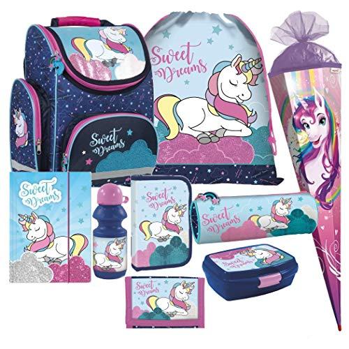 Einhorn Unicorn Pferd Pony Horse 9 Teile Set Schulranzen Schultasche Ranzen Tornister Federmappe Schultüte 85 cm inklusive Sticker von Kids4shop