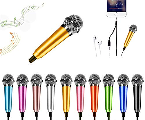 Mini Karaoke Microphone, Mini microphone Mini Voice Recording Microphone Portable Karaoke Mic for Singing, Recording, Voice Recording (yellow)