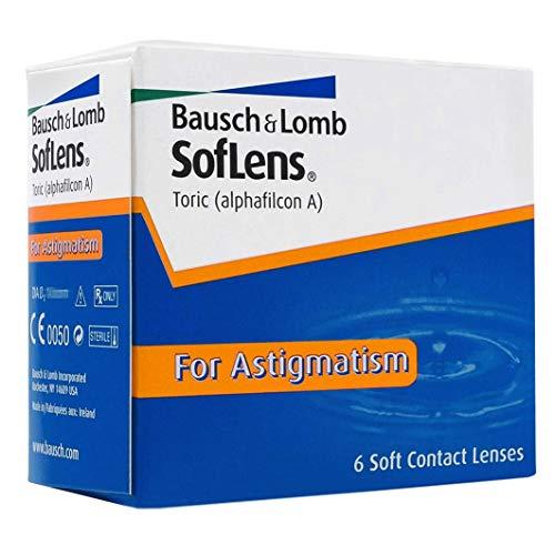 Bausch und Lomb SofLens Toric Monatslinsen, torische Kontaktlinsen, weich, 6 Stück BC 8.5 mm / DIA 14.5 / CYL -1.25 / Achse 180 / -6 Dioptrien