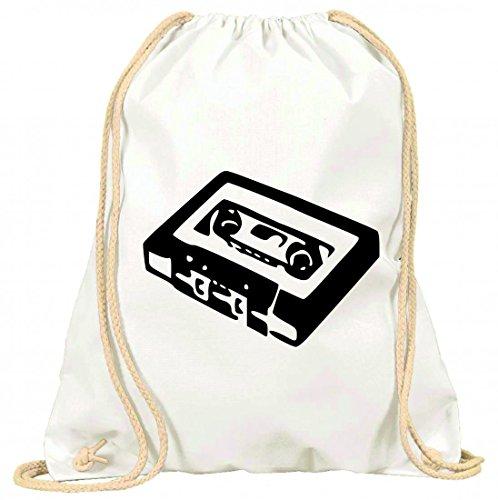 Druckerlebnis24 Turnbeutel Kassette- Musik- Audio- TON- Band- Retro- Jahrgang- Radio- Technologie- Unterhaltung- 80ER Jahre- Aufnahme mit Kordel - 100% Baumwolle- Gymbag- Rucksack- Sportbeutel