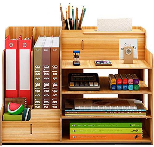 Catekro Portapenne da scrivania ad alta capacità Portapenne/Libreria in legno, 39x29x28 cm (Legno di ciliegio)