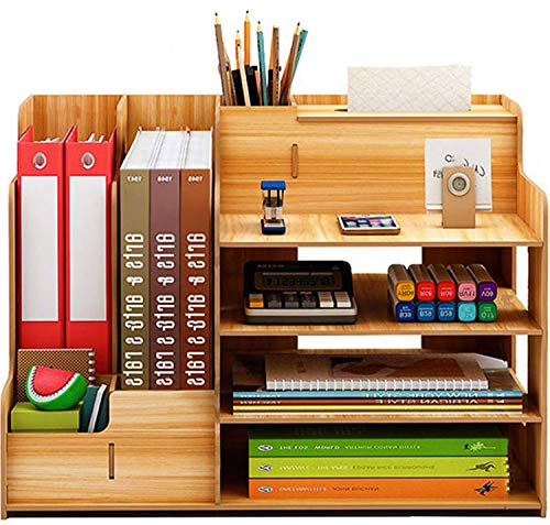 Catekro Großraum Schreibtisch Aufbewahrungsbox Stifthalter/Bücherregal aus Holz Gelb 39x29x28 cm Mit aus Papier Pule und Holz Pule