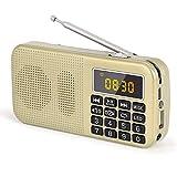 Gemean J-725Cポータブル アラームクロックラジオ, 大容量(3000mAH)充電式バッテリー ポータブル ワイド FM SD USB MP3 フラッシュライト機能付き。30時間連続再生。放送局を自動保存(手動ではありません)