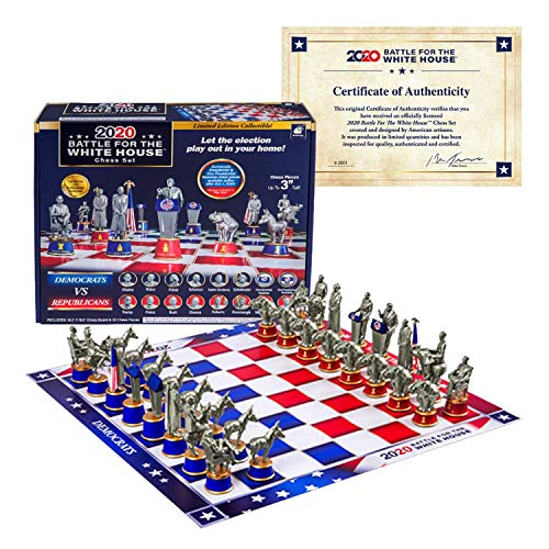 As Seen On TV Collectors Edition 2020 Battle for The White House Chess Set Board Game by BulbHead - Chess Pieces Look Just Like Politicians & Patriotic Chess Board Democrats Vs. Republicans
