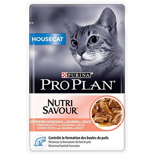 PURINA PRO PLAN HOUSECAT NUTRISAVOUR Katzenfutter nass für Hauskatzen, mit Lachs, 24er Pack (24 x 85g)