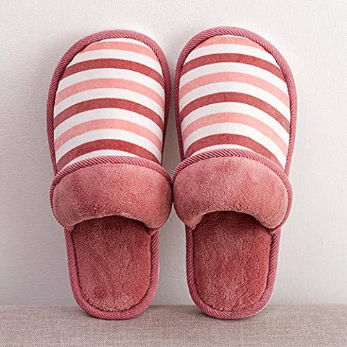 WSKMTX Zapatillas De Algodón para Mujer,Otoño Invierno Par Inicio Zapatillas De Algodón...